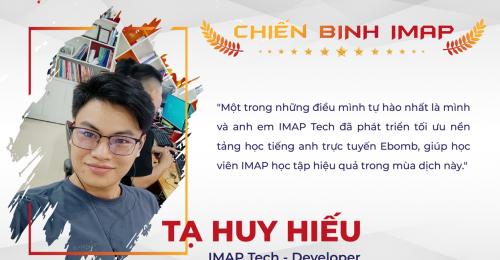 Một trong những điều mình tự hào nhất là mình và anh em IMAP Tech đã phát triển tối ưu nền tảng học tiếng anh trực tuyến Ebomb, giúp học viên IMAP học tập hiệu quả trong mùa dịch này.