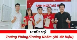 Tuyển dụng Trưởng Phòng/trưởng Nhóm Kinh Doanh Chi Nhánh ( Thu Nhập 25 -40 Triệu)